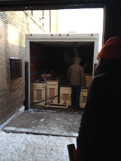 Packing up Joseph Grigley's work for the Whitney Biennial